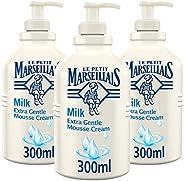 Le Petit Marseillais Mousse Cream Milk Extra Gentle, 300 ml Pack of 3