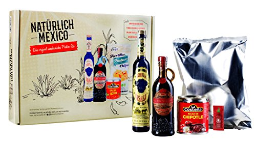 Geschenkset | So schmeckt Mexico | Natürlich Mexico | La Costena Salsa Chipotle | Palapa Tortilla Chips Natur | Rum Prohibido Reserva | Tequila Corralejo Reposado | Sriracha Hot Chili Sauce - 1er Set ( 1 x 1 Geschenkset)