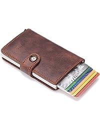 Kreditkartenetui, ABILITH Echtes Leder Kartenetui Geldklammer Portmonee Geldbeutel mit RFID Schutz für Alltag