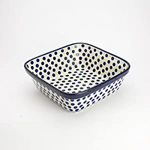 Polish Pottery Square Oven Serving Dish – Small Blue Polka Dot – 20cm x 20cm
