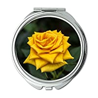 Yanteng made roses flowers nature yellow-Beeu Wallet mirror, makeup mirror, pocket mirror (portable mirror)