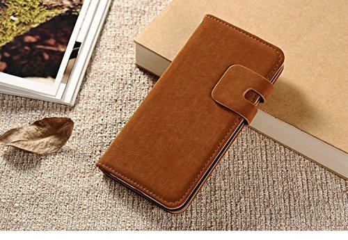 POEGO Handy Hülle Cover Case Schutzhülle Schutz Hülle mit Kartenfach Magnetverschluss Standfunktion (iPhone 7, Weiß) Hellbraun