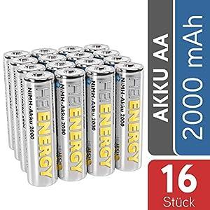 HEITECH AA Akku Mignon 2000 mAh 1,2V NiMH TÜV geprüft 16 Stück – Wiederaufladbare Batterien mit geringer Selbstentladung – Akkus für Geräte mit hohem Stromverbrauch