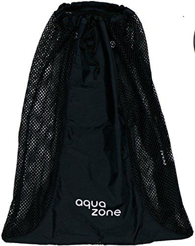 aqua zone Rucksack mit Kordelzug, Netzstoff, für Schwimmen, Strand, Tauchen, Reisen, Fitnessstudio, Schwarz