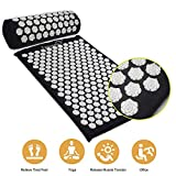 Acupuncture Mat Massage Yoga Mats Fitness Massage Cushion Acupuncture Massage Mat Acupressure Mat and Pillow Set Pin Pad (Black)