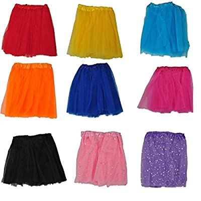 24X7Emall Girls Mini Skirt For Ballet Dance Photography Prop Costume Outfit Party Dancewear (23Cm Length ~ 23-43 Cm Waist- Combo Of 9)