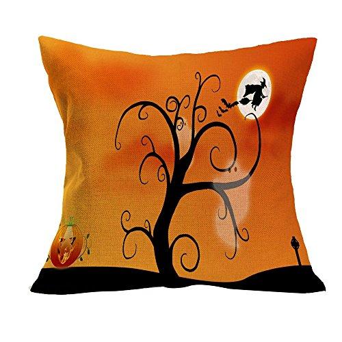 VEMOW Halloween Party Dekoration Kissenbezug Sofa Taille Mode Werfen Kissenbezug Home Decor(Gelb 9, 45cm*45cm)