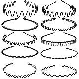 10 pezzi Cerchietto per Capelli, Fasce per Capelli in Metallo Nero per Donne e Uomini, Cerchietto per Capelli Uomo Wave da An