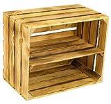 Massive NEUE geflammte Kiste als Schuh- und Bücherregal +++ Obstkiste mit Zwischenbrett von Kontorei®