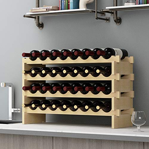 Soges scaffale per vino in legno da appoggio per vino, scaffali per esposizione, 32 bottiglie per vino, scaffale per vino da cucina per la casa,by-ws4832m-1