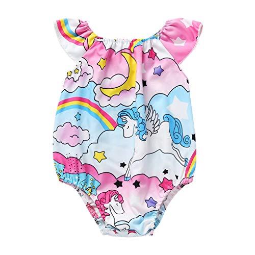 Pwtchenty Bodysuit Jumpsuit Baby Mädchen Regenbogen Pony Gedruckt Baby Onesie Romper Spielanzug Outfits Kleidung - Pony Plaid Hut