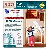 Tatkraft Gate Treppenschutzgitter Tür-Schutzgitter für Kinder, Hunde und Katzen | mit Open \ Close Indikator | Befestigung ohne Bohren, zum Klemmen mit Tür, 76-85cm, weiß