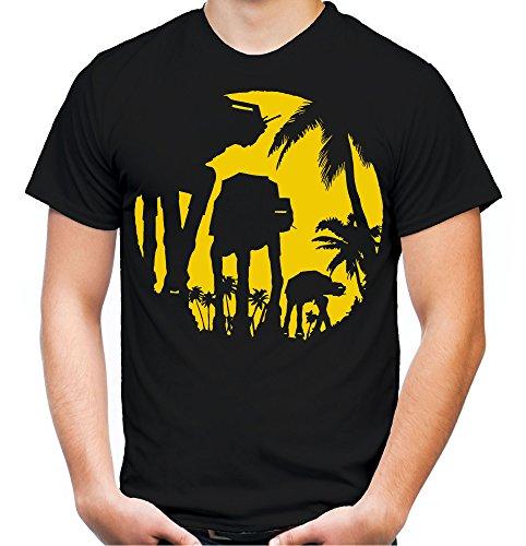 AT AT Sunlight T-Shirt | Star Wars | Death Star | Darth | Sith | Vader | Yoda | Männer | Herrn | Fun | Kult | Film (L, Schwarz)