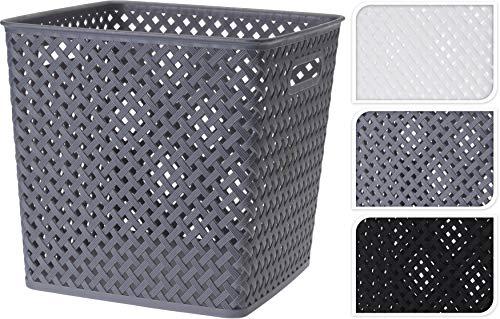 hibuy 2 Stück Aufbewahrungskiste Dekobox Körbchen in Rattan-Optik aus Kunststoff (PP), 29x29x28cm, grau