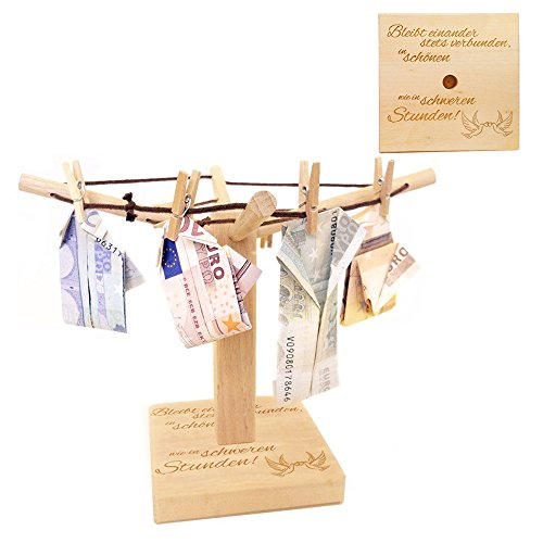 Wäsche-Spinne aus Holz mit liebevoller Gravur – Bleibt einander stets verbunden… - [Motiv Tauben] - kreative und originelle Geld-Geschenke oder Foto-Geschenke Verpackung zur Hochzeit - 20cm x 12 cm