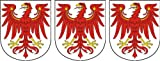 3 x Mini Aufkleber Brandenburg Adler Wappen Schild Sticker Fahrradaufkleber