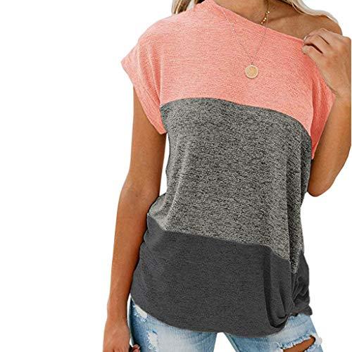 Routinfly Ausverkauf 2019 Neue Damen Nähen geknotet Off-Schulter Top Bluse,Frauen Sommer beiläufige lose T-Shirt Kurzhülse Tunika Shirts Pullover T-Shirt Neue Ankunft -