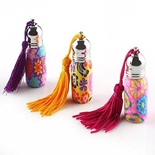 Anbbas 3pcs zufällige Blume Flaschen, leere Roll-on Parfum Essential Oil Roller 6 ml (Blumen-parfüm-flasche)