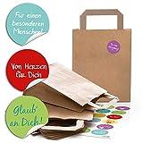24 braune Papiertüten Papier-Tragetaschen Geschenktüte 18 x 8 x 22 cm kleine Papiertaschen + 24 runde Aufkleber Sprüche Liebe Verpackung natur Geschenke Mitgebsel give-away