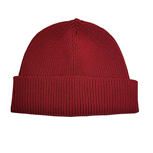 qianqian QIAN Autumn And Winter Keep Warm Hat Knitted Melon Hip Hop Short Paragraph Street Woolen Cap Man And Woman Crimped Dome Cap, Red