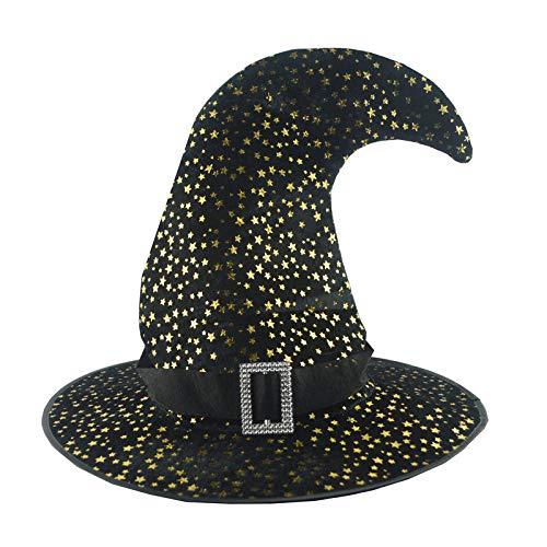 Fousamax Halloween Hexenhut, Adult Star Printed Hexenhut Cosplay Hexe Kopfbedeckung Kostüm - Shining Star Kostüm