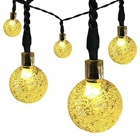 Guirlande lumineuse solaire Satu Marron, 3021cm 6,5m d'extérieur Boule de cristal LED de Noël Parti navette Globe LED éclairage d'ambiance festive pour jardin, patio, cour Deck (Blanc chaud)