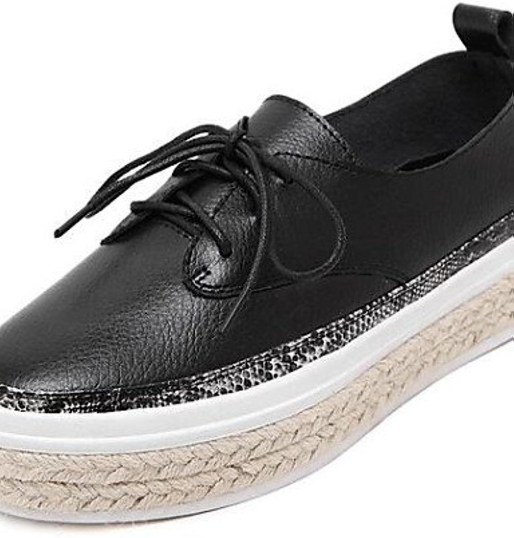 ZQ hug Zapatos de mujer - Tacón Plano - Comfort - Zapatos Náuticos - Exterior - Semicuero - Negro / Blanco , white-us8...