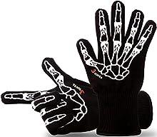 Guantes de diseño para parrilla, guantes de cocina, 33 cm de longitud, con certificado EN407, calidad de primera, hasta 500ºC, 1 par de guantes, puede usarse como guantes para cacerolas, guantes protectores.