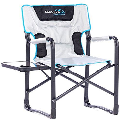 skandika Campingstuhl Deluxe mit Klapptisch Klappstuhl Faltstuhl bis 150 kg belastbar, seitlicher Klapptisch, integrierter Getränkehalter -