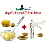Trackindia Combo Of Stainless Steel Kitchen Press (Namakin Maker) & Stainless Steel Deep Fry Strainer