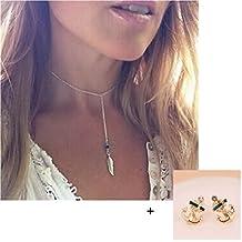 Malloom®venta caliente mujeres joyas estilo bohemio turquesa la forma de la pluma la borla colgante declaración de la cadena collar