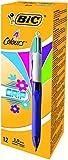 BIC 4-Farb-Druckkugelschreiber 4 Colours Grip Fun / Mehrfarben Kugelschreiber in türkisblau, pink, lila und hellgrün / Set mit 12 Vierfarbstiften