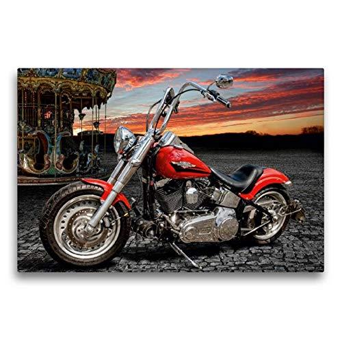 Calvendo Premium Textil-Leinwand 75 cm x 50 cm quer Harley-Davidson Fat Boy Bobber Chopper   Wandbild, Bild auf Keilrahmen, Fertigbild auf echter Leinwand. von Michael Pohl Technologie Technologie