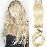 Myfashionhair Clip en extensiones de cabello Extensiones de cabello humano real 20 en 7 piezas 70g Pelo rubio platino sedoso Remy Remy