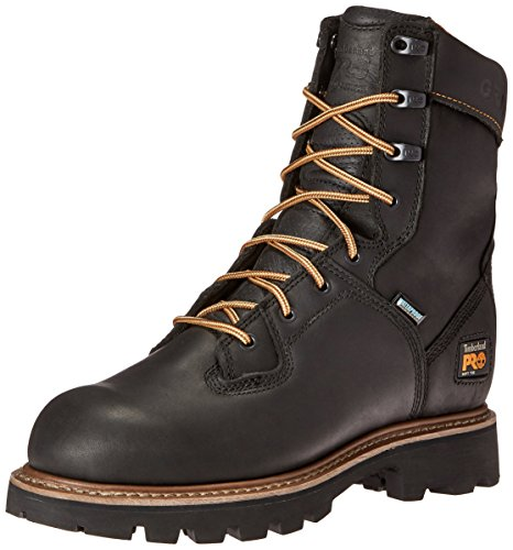 Timberland PRO Men's 8 Inch Crosscut WP Soft Toe Logger Work Boot, Black Full Grain Leather, 8.5 M US Logger Boots