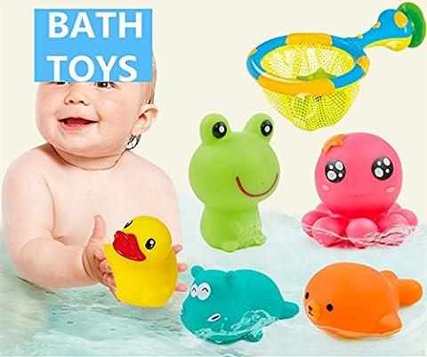 Jouets de bain,Morbuy Jouets de bain Baby Bathing Jouets en caoutchouc souple Jouets pour enfants Animaux Jouet de son