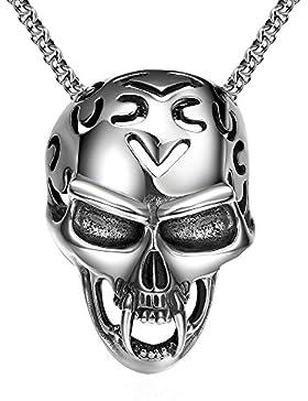 lekima Anhänger Halskette Groß schwere Devil Totenkopf Skelett Vintage Punk Rock Edelstahl Schmuck Geschenk für...
