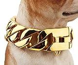 NIGHT WALL Ausgefallene HundehalsbänderDoberman Metal Necklace 30 mm Dog Necklace, Golden, 55cmLederhalsbänder für mittlere Hunde