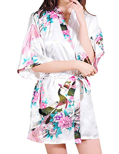 Surenow Kimono Corto per Donna Pavone Esotici Raso Serico Fiore Kimono Accappatoio Spugna
