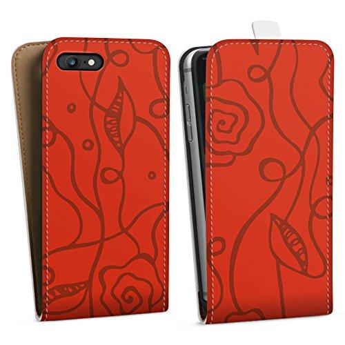 Apple iPhone X Silikon Hülle Case Schutzhülle Blumen Rosen Love Rot Downflip Tasche weiß
