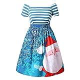 BHYDRY Frauen Weihnachtsmann Striped Printed Dress Abend Prom Kostüm Swing Kleid