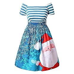 OverDose Damen Frohe Weihnachten Karneval Stil Frauen Weihnachtsmann Striped Printed Dress Abend Prom Party Elegantes Tanz Dünnes Kostüm Swing Dress(X-Himmelblau,36 DE/M CN)