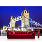 Vlies Fototapete 208x146cm PREMIUM PLUS Wand Foto Tapete Wand Bild Vliestapete - London Tapete London Tower Bridge City Miasto Skyline blau - no. 1221