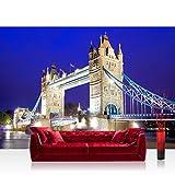 Vlies Fototapete 152.5x104cm PREMIUM PLUS Wand Foto Tapete Wand Bild Vliestapete - London Tapete London Tower Bridge City Miasto Skyline blau - no. 1221