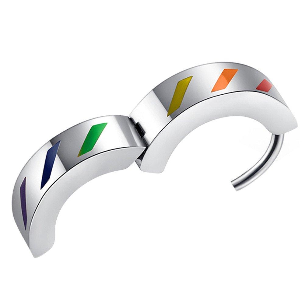HIJONES Men's Stainless Steel Rainbow Flag Huggie Hinged Hoop Earrings LGBT Gay Pride Design