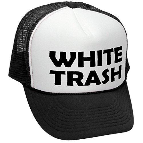 a23ed0376f5 Facsea WHITE TRASH - redneck funny ghetto usa - Adult Trucker Cap Hat Black