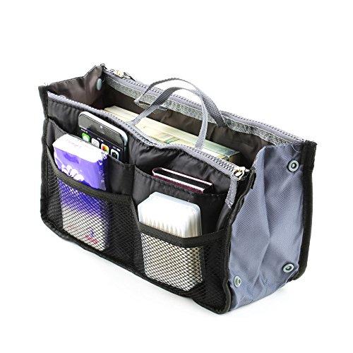 boldion (TM) Borsa in borsa, portatile con doppia cerniera tasche Borsa Borsa Da Viaggio multifunzionale, Fadish Makeup Organizer da viaggio borsa Purple Black
