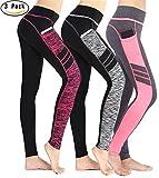Munvot Tailored Geschenke Damen Hohe Taille Sport Leggings - TUMMY CONTROL - Sporthosen Super für Fitness, Joggen, Yoga, running etc. (L, 3ER Pack Sport leggings)