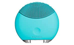 FOREO LUNA mini Electric Face Brush Portable Cleanser and USB Rechargeable Sonic Cleansing System Turquoise Blue