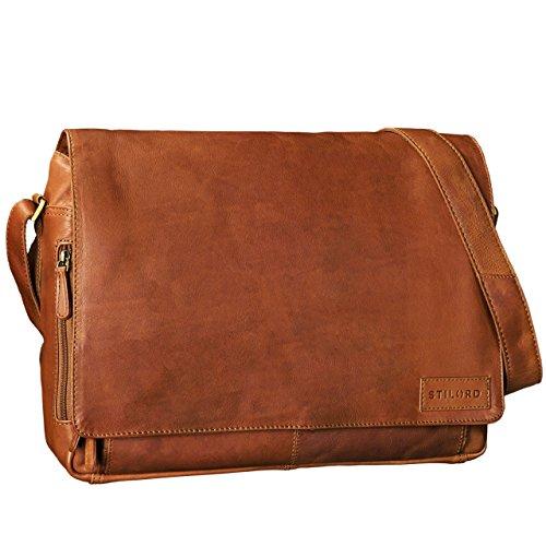 STILORD 'Rick' Schultertasche Leder für 15,6 Zoll Laptop Umhängetasche Aktentasche Bürotasche Unitasche Büffel-Leder , Farbe:sattel - braun cognac - braun